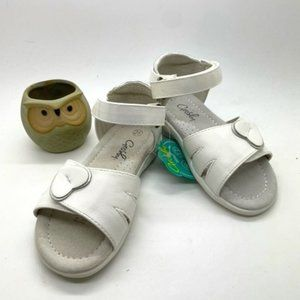 Girls Shoes Grosby Heather White Sandals 4-10